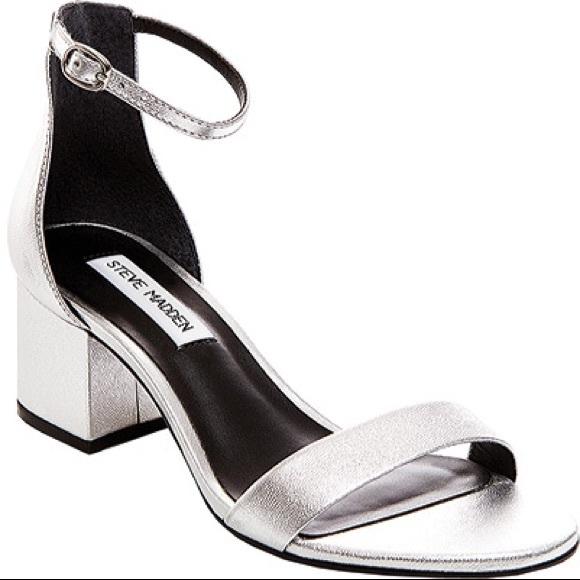 6aab5e423ee Steve Madden Irenee silver block heel NWT